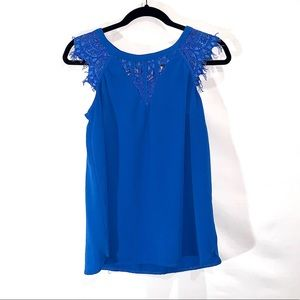 Cobalt Blue Blouse with Lace Detail